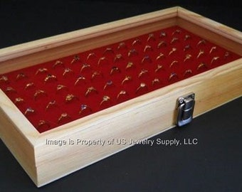 Natural Wood Glass Top 72 Ring Red Jewelry Sales, Display Box Storage Case with Mandrel, Gauge & Jewelry Polishing Cloth