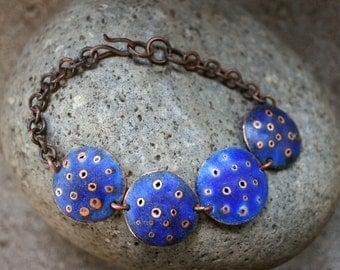 matte blue enamel/copper bracelet