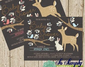 Woodland/Forest Baby Shower Invitation **Custom**