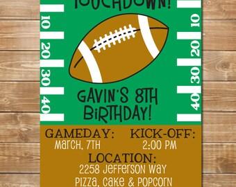 Football Invitation, Birthday Invite Sports, Printable Invite Sports Theme, football Party, Personalized Invite, Football Invite