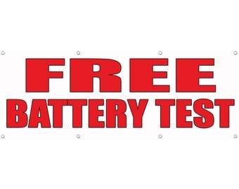 free battery test auto body shop car repair banner sign. Black Bedroom Furniture Sets. Home Design Ideas