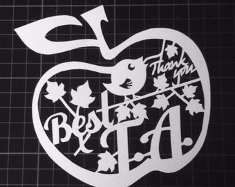 Apple Best T.A. - Thank You Paper Cut / Papercut Template - Commercial Use - Instant download.