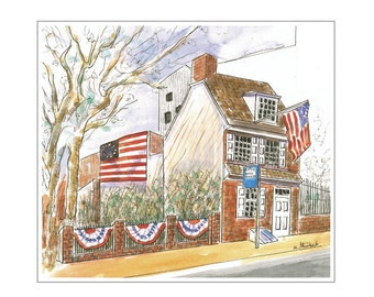 The Betsy Ross House.  Matted digital print of original painting.