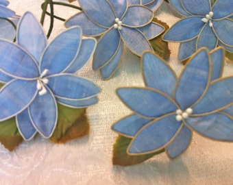 8 Beautiful Blue Silk Flower Green Leaves Napkin Rings