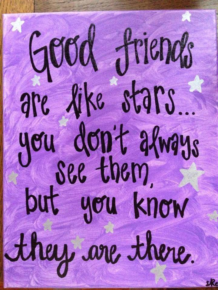 Friend Quotes On Canvas : Good friends are like stars quote canvas painting