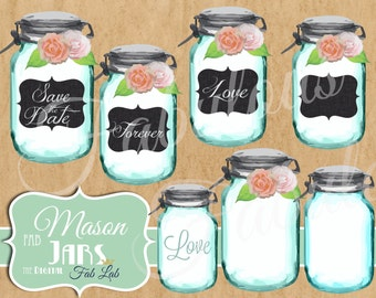 Shabby Chic, Digital Mason Jar, Elements, Flower Embellishments, Digital Clipart, Scrapbook, PNG