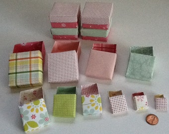 Teeny tiny set of 10 gift boxes for jewelry or small gifts.  These boxes nest inside each other for ease in shipping.