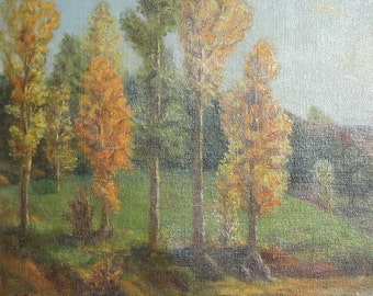 1956 oil painting forest landscape signed