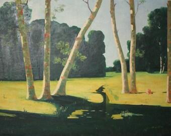 Forest vintage oil painting landscape