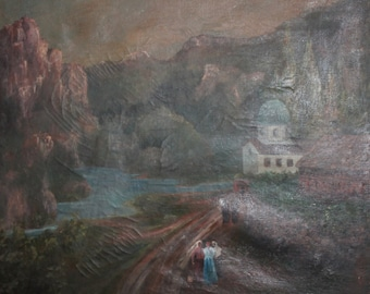 1919 Landscape mountain river village oil painting signed