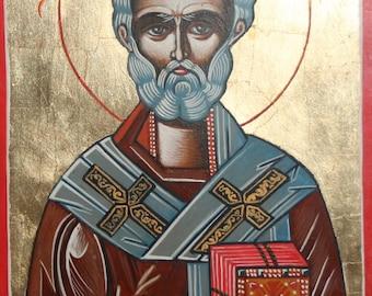 Orthodox Saint Nicholas the Wonderworker hand painted icon