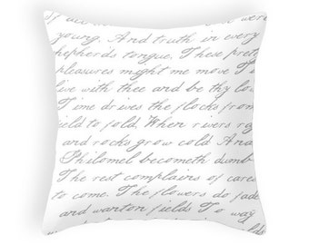 White and grey handwriting poem throw pillow handwriting white and grey cushion handwriting pillow cushion cover handwriting cushion