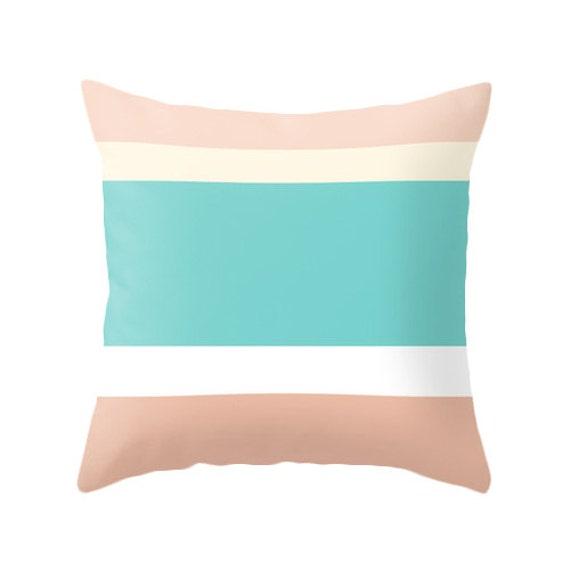 Teal And Cream Decorative Pillows : Peach cream and teal Decorative pillow teal Striped throw