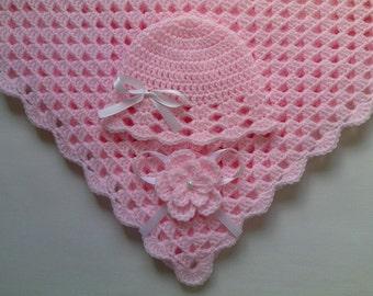 Crochet Baby Blanket Hat Set, Nursery Bedding christening baptism gift afghan, deken, colcha , coperta, Babydecke, manta