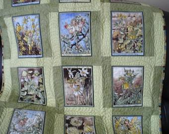 Fairy lap quilt/wall hanging/Michael Miller fabric/green fairy blanket/fairy crib quilt/green sofa throw/fairy blanket/picnic blanket