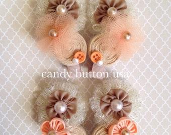 Orange Gold Hairclip, Baby Girl Hairclip, Newborn Barrette, Newborn Hairclip, Flower Hairclip, Gold Baby Barrette, Fancy Girl Clip