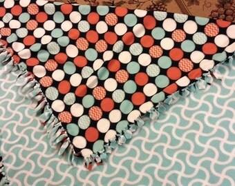 polka dot and swirl fleece blanket