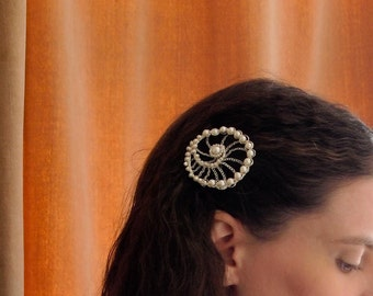 Rossetti Spiral Freshwater Pearl Brooch & Hairpin