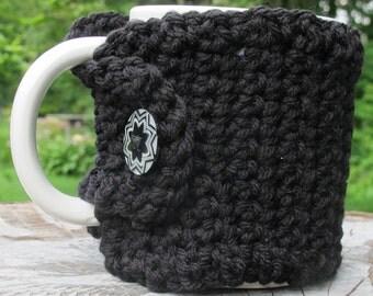 Black Crochet Mug Cozy with Button Ready to Ship