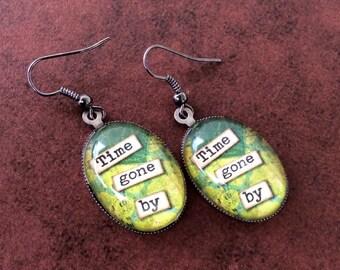 Altered Art Earrings, Green Earrings, Gunmetal Earrings, Oval Earrings, Shabby Chic Earrings, Dangle Earrings, Time Gone By Earrings, Unique
