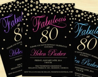 80th Birthday Invitation / 70th / 90th / Any Age / Digital Printable Invitation / Customized