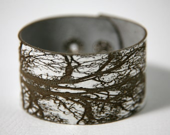 Laser cut leather bracelet cuff with oak tree print