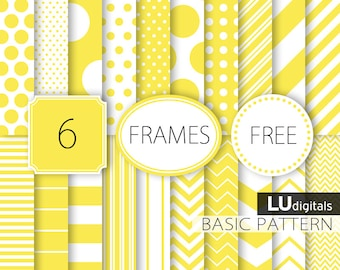 Yellow digital paper scrapbook basic pattern frames label background lemon canary graphics invitation party supplies invites card making dot