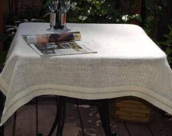 Hand Embroidered Burlap Table Cloth 43u0027u0027 X 43u0027u0027, 43u0027u0027