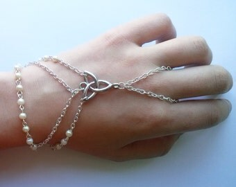 Silver Plate Celtic Slave Bracelet , Cream Glass Pearl Slave Bracelet , Celtic Bracelet , Celtic Knot Bracelet