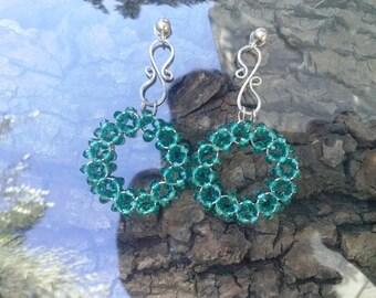 Earrings Rhinestone Collor 5.5 cm. 3-Ipoalergenico Steel Emerald.