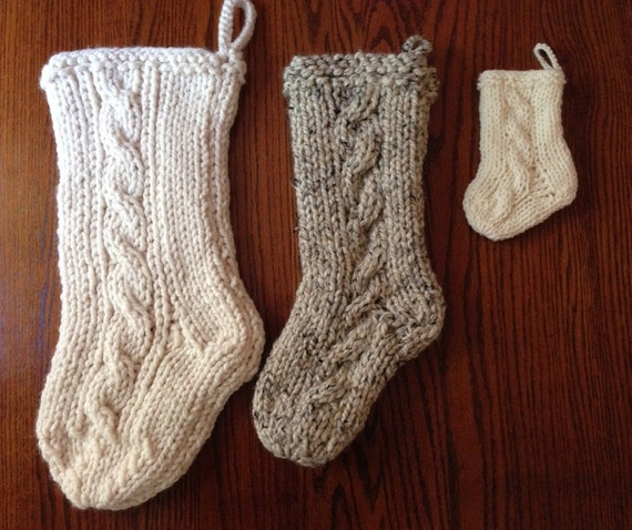 Cable Knit Christmas Stocking Pattern : Cable Knit Christmas Stocking Medium by LittleCreekGifts on Etsy