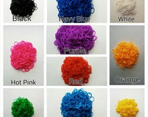 9 COLORS//Rainbow Loom Bands Refill with S-Clip & Hook for Handcrafted Project, Red Pink Blue Green Purple Orange White Black Yellow
