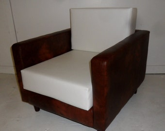 American Diner Urban Retro Chair Upholstered in A Premium Chestnut Brown And White Faux Leather