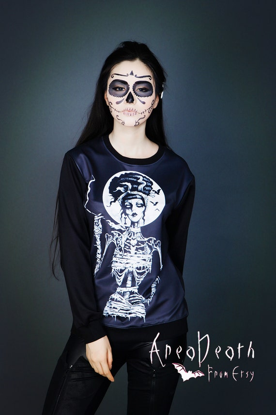 Skeleton witch Sweater NOT(black white print black white fabric black white photography erotic black white necklace black white invitations)