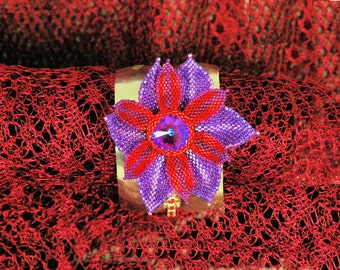 Beaded Purple Flower Cuff Bracelet