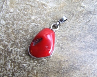 Free shipping vintage red coral pendant, sterling silver coral pendant, red coral pendant, coral pendant