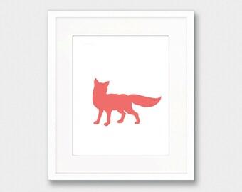 Coral Fox Silhouette, Fox Silhouette, Beige Art Print Animal Silhouette, Fox Wall Art, Woodland Nursery Print, Nursery Fox Silhouette