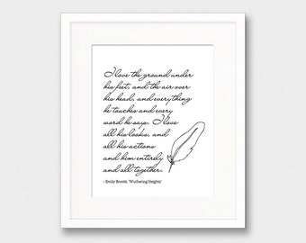 Emily Bronte Quote Print, Wuthering Heights Quote Print, Inspirational Quote Poster Printable Wall Art, Love Quote Print, Instant Download