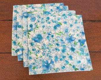 Cloth napkins, floral cotton lawn fabric, set of four