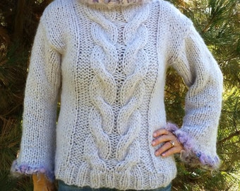 Hand Knit Wool, Cable, PullOver Sweater in Light Lavender OOAK