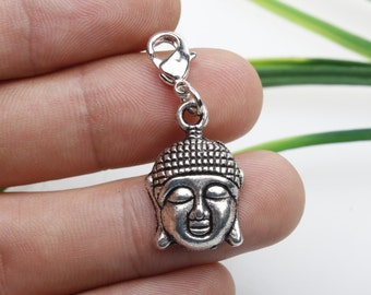 Own Charm ~ Antique Silver Plated Buddha Head Charm, 22mm x 15mm