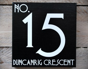 "House Number & Street Name Wooden Sign / Plaque..Art Deco Font..6"" x 6"""