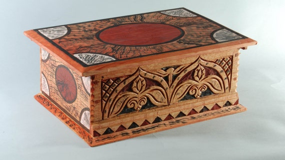 carved oak box