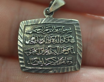 Sterling Silver  Amulet Calligraphy  Islamic Pendant f or Evil eye  Nazar protection Surah QALAM  51. 52. Ayats form Holly QURAN