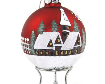 Red Handpainted Glass Christmas Village Bauble