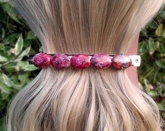 Motled Red Soapstone Beaded Hair Clip