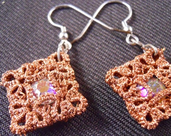 Copper and Crystal Tatted Earrings