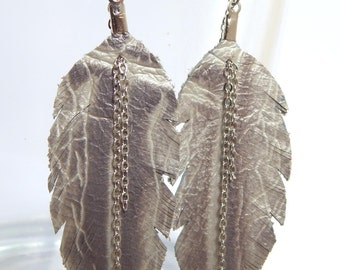BEST SELLERS Silver Leather Feather Earrings