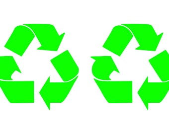Recycle decals, Set of Two Decals, recycle stickers, bright yellow-green color, recycle bins, or kitchen bins, break rooms game rooms, bars