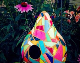 Birdhouse gourd, mosaic crafted bird house gourd